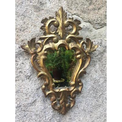 Golden Wood Mirror, Early Twentieth, 37 X 26 Cm