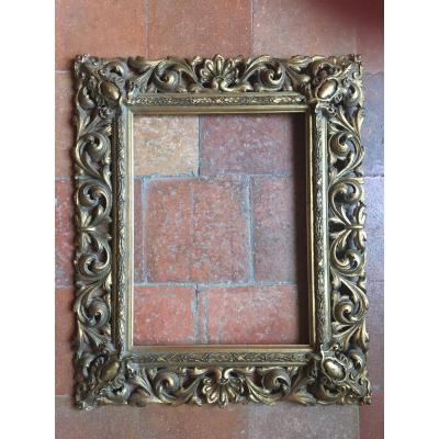 Openwork And Gilded Frame, Late Nineteenth, Rebinding Background: 45.5 X 34.5 Cm