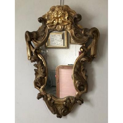 Miroir Aux Angelots, Doré à La Feuille d'Or,  XIXème