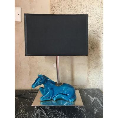 Lampe Cheval En Céramique Bleue Craquelée, Milieu XXème