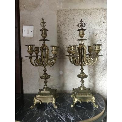 Pair Of Bronze Candelabra, XIXth
