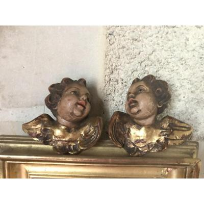 Pair Of Polychrome Wooden Angel Heads