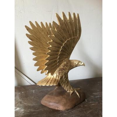 Aigle En Bois Sculpté Et Doré, Milieu XXème