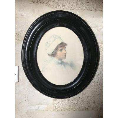 Portrait d'une Jeune Infirmière Par Eugène Durand 1850-1921