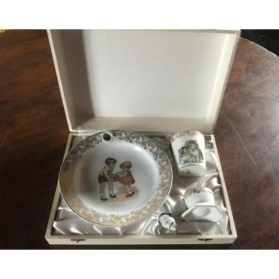 Children's Plate And Egg Cup Box, Lucien Michelaud, Limoges