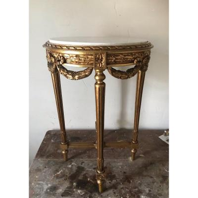 Louis XVI Style Pedestal Table In Gilded Wood