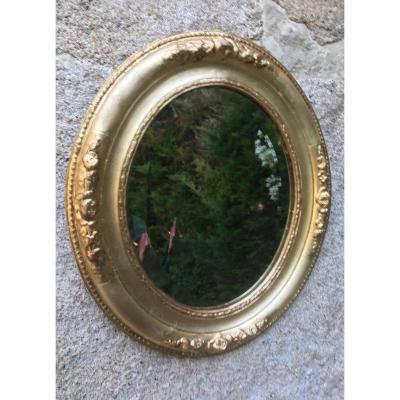 Petit Miroir Ovale Doré à La Feuille XIXème