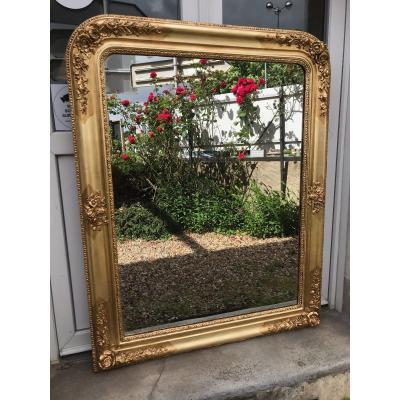 Miroir Louis Philippe Doré à La Feuille, 118 X 93 Cm