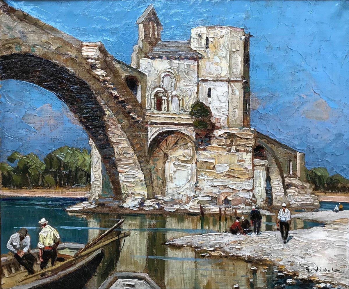 Gustave Vidal (1895-1966) -avignon-provence-the Pont Saint Bénézet