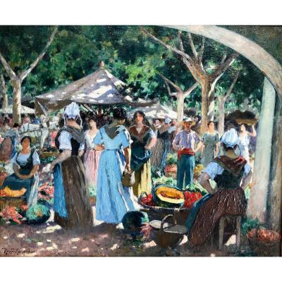 Marius ROUX-RENARD (1870-1936)-Provence-Avignon-Scène de marché-Orange