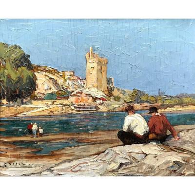 Gustave Vidal (1895-1966)-Avignon-Provence-tour Philippe Le Bel