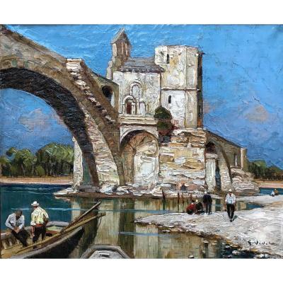 Gustave Vidal (1895-1966)-avignon-provence-le Pont Saint Bénézet