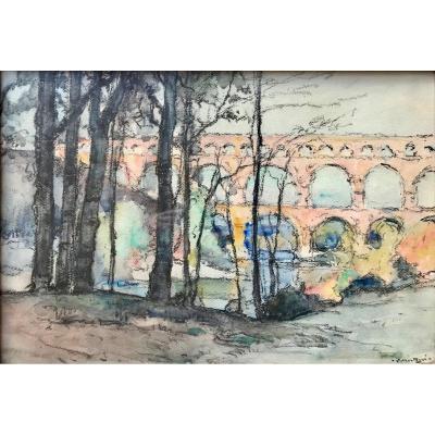 Louis Montagné (1879-1960) - Avignon-provence-pont Du Gard-groupe Des Treize