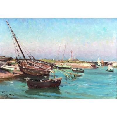 Louis Montagné (1879-1960) -normandy-calvados-le Port De Courseulles 1907