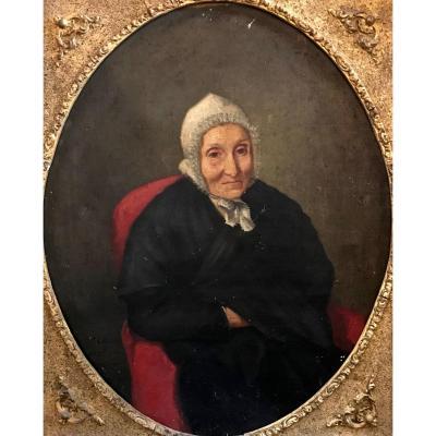 Léon Alègre (1813-1884)-artist From Bagnols Sur Cèze In The South Of France-portrait Of Mother