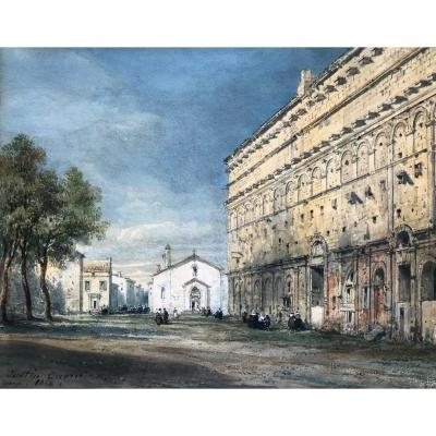 Pierre Justin Ouvrié (1806-1879) -rouen-vaucluse-théâtre Antique d'Orange 1868-provence-avignon