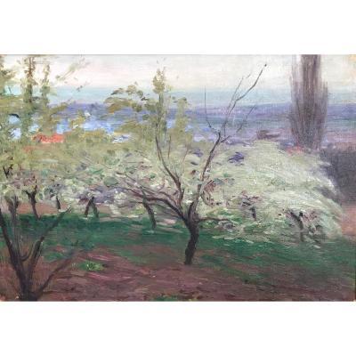 Jules Flour (1864-1921) -landscape Of Provence-avignon
