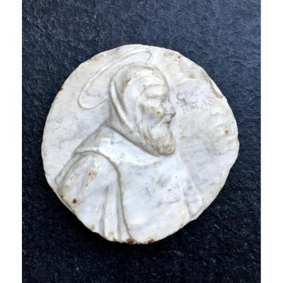 High Relief Medallion In White Marble XVI Or XVII-charitas-spain