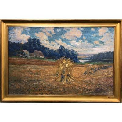 Alphonse Henri Mazard (1865-1939) -paris-landscape With Haystacks-harvest
