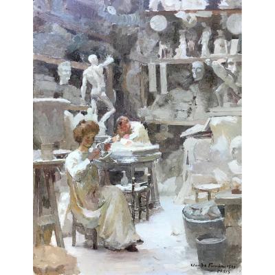 Claude Firmin (1864-1944)-Avignon-Provence-Atelier du mouleur Sadaune à Paris, 1900