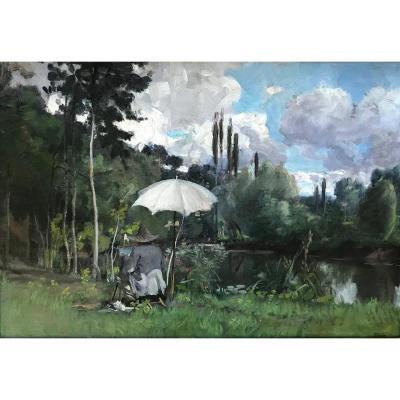 Paul Saïn (1853-1908)-Avignon-Provence-Autoportrait sur le motif à Saint-Céneri-le-Gérei
