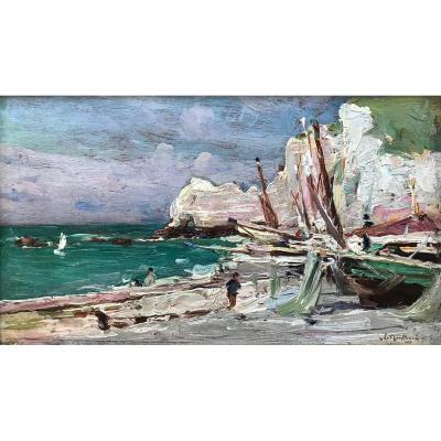 Louis Montagné (1879-1960)-Avignon-Provence-Groupe des Treize-Avignon-Plage à Etretat-Normandie