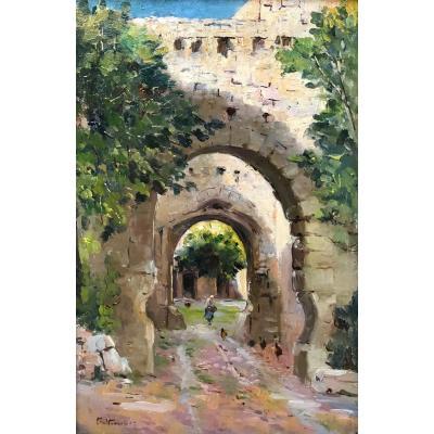 Charles Vionnet (1858-1923)-Avignon-Provence-Entrée de la cour des pénitents à Villeneuve