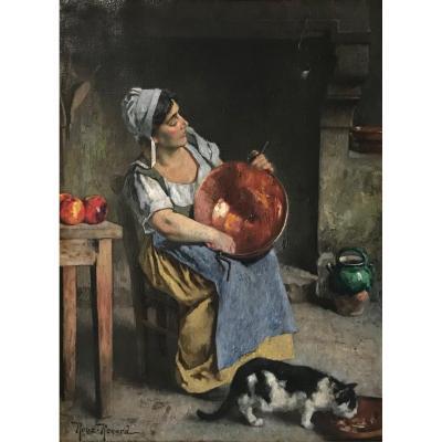 Marius Roux-Renard (1870-1936)-Avignon-Orange-Provence-Comtadine au chaudron- 1er prix