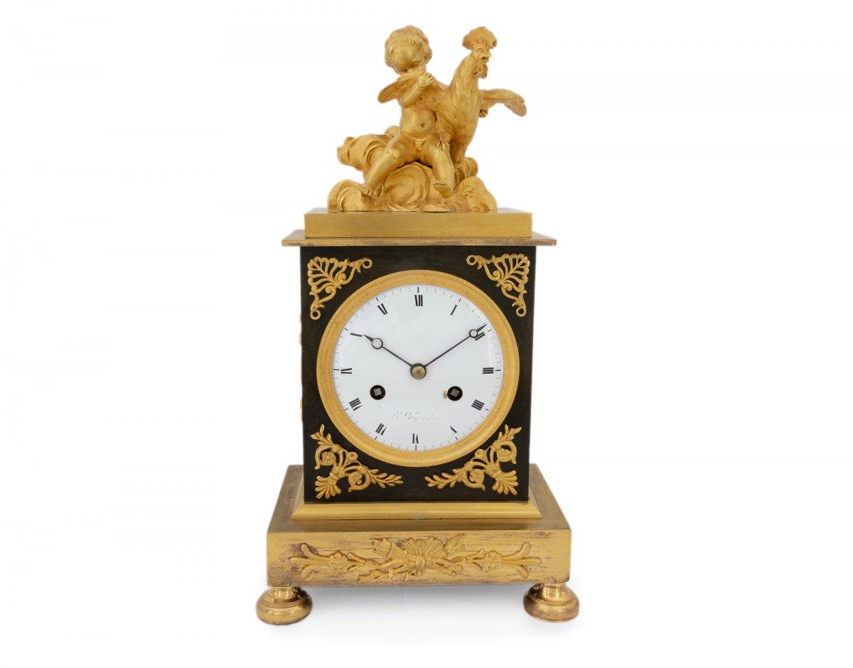 Empire Française Horloge Avec Chérubin Et Coq