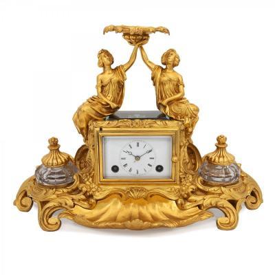 Horloge Français de style Pendule D'Officier en forme d'Encrier