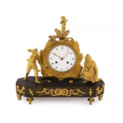 French Gilded Bronze Mantle Clock, Directoire, Depicting The Harvesting