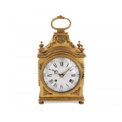 Austrian Gilded Bronze Carriage Clock In Pendule d'Officier Clock Style