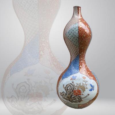 Japon, Grand Vase Double Gourde, Porcelaine De Kutani, époque Meiji