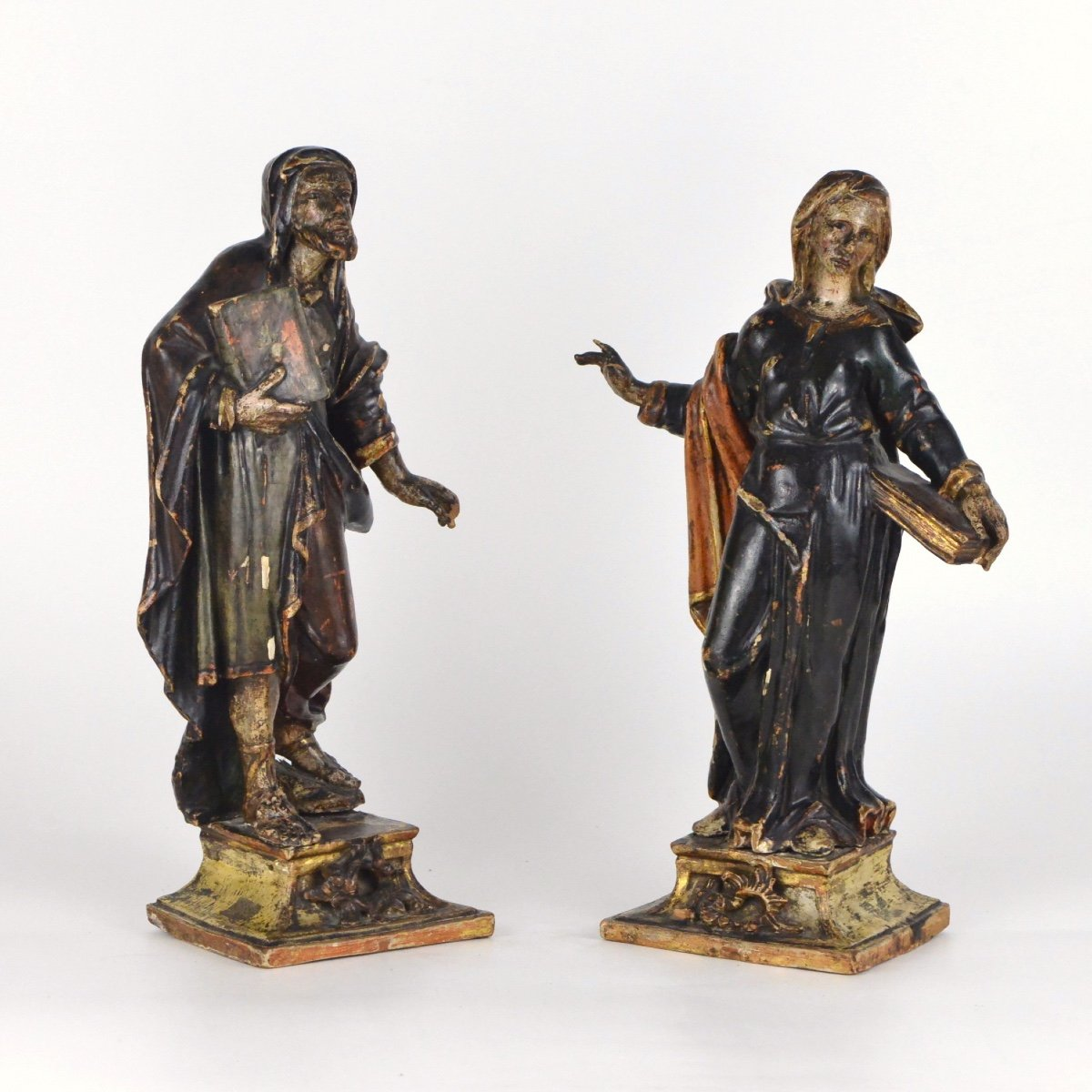 Pair Of Carved And Polychromed Wooden Sculptures Of Saints Holding A Book XVIIth Century