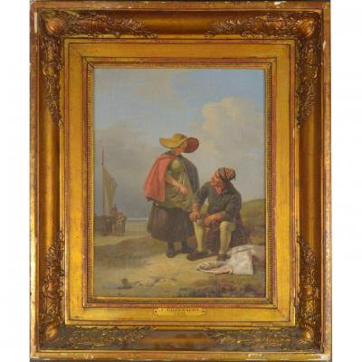 Jozef Geirnaert (1791-1859) Vendeur De Poissons Huile Sur Toile
