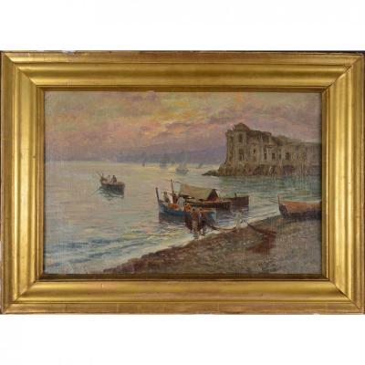 Peinture Marine Animé - Les Pêcheurs. École Anglaise.
