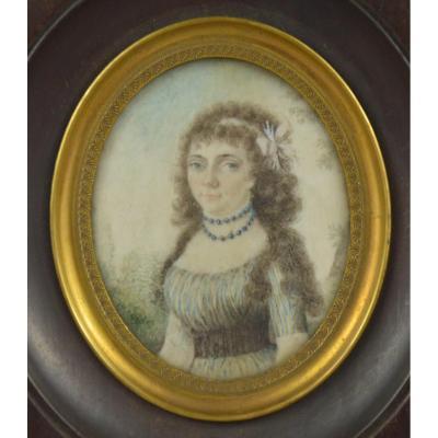 Miniature Ancienne Sur Ivoire Portrait De Dame De Qualité Debut 19ème