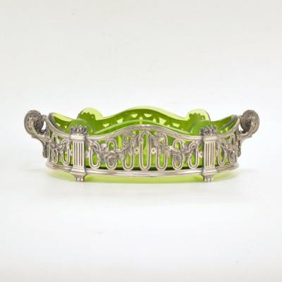 Green Glass Silver Plated Metal Mounted Jardiniere By Gallia (christofle) 19th Century