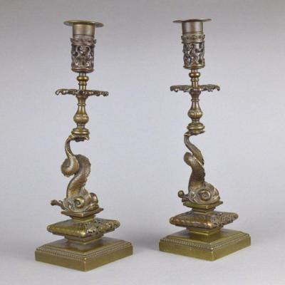 Pair Of Renaissance Style Patinated Bronze Candlesticks In The Shape Of Dolphins 19th Century