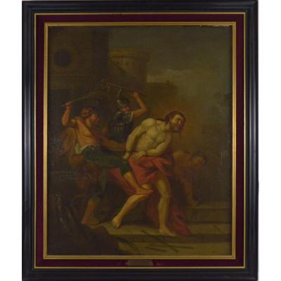 Painting Flagellation Of Christ Flemish School 17th Century Oil On Canvas 81x65 Cm