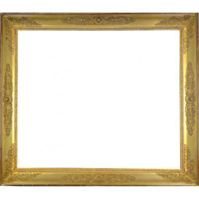 Cadre Doré D'époque Restauration à Décor De Palmettes 19ème 102x89 cm