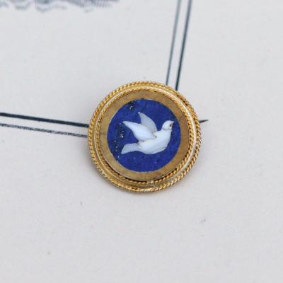 Miniature Brooch In 14 K Gold With Mosaic Pietra Dura