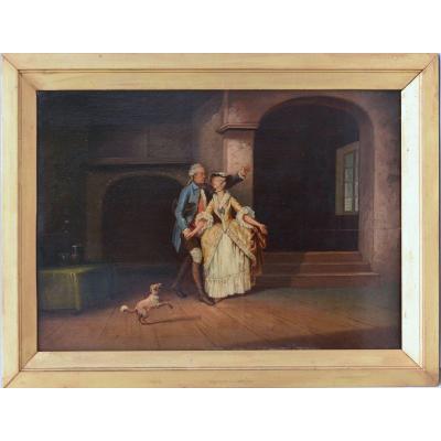 Peinture La Conversation Galante Huile Sur Panneau XIXème 42x30 cm