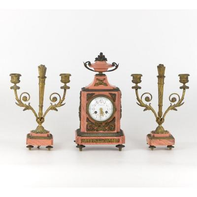 Marble And Bronze Mantel Clock And A Pair Of Candelabras Signed Ardavani Paris XIXth Century