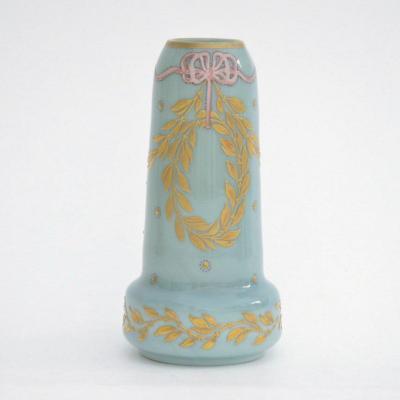 Art Nouveau Marbleized Glass Vase Enhanced With Gold And Enamels Saint Denis Legras  Circa 1900