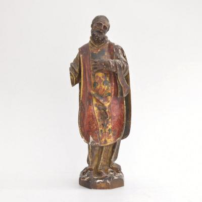 Carved And Polychromed Wooden Sculpture Of A Saint Spain 18th Century