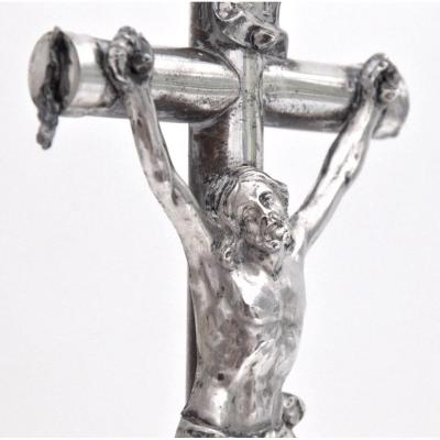 Silver And Metal Crucifix  On A Porcelain Base Netherlands 19th Century