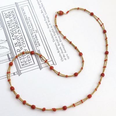 Collier Composé De Perles En Or 14 Carats Et De Perles De Corail Naturelles Facettées
