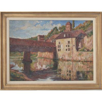 Emile De Bordski Vue De Pont Huile Sut Toile 74x100 CM