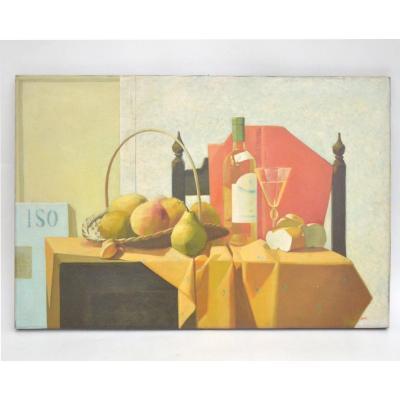 L. Mair Tableau Nature Morte Aux Poires Et Raisins Huile sur toile 90x60 cm